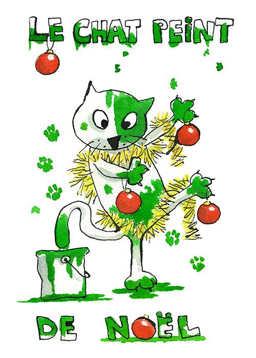 chat peint de Noël
